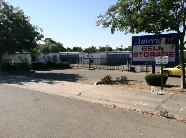 Entrance to First American Self Storage in Antelope, CA